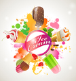 Bright background with ice cream vector