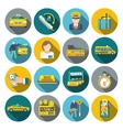 Taxi icons flat set vector