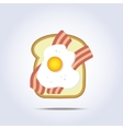 White bread toast icon with bacon and egg vector