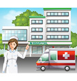 A nurse in front of the hospital vector
