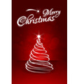 Red christmas card with abstract christmas tree vector