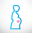 Pregnant woman symboloutlined sketch vector