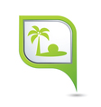 Map pointer with tropical beach icon vector