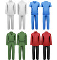 Set of white and colorful work clothes design vector