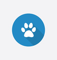 Cat footprint flat blue simple icon with long vector