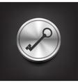 Key icon on silver button vector