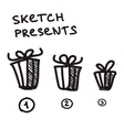 Funny present boxes of differrent size vector