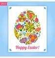 Easter flowers egg background vector