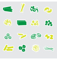 Types of pasta food stickers eps10 vector