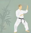 The the man is engaged in karate vector