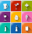 Buttons with the different refreshing drinks vector