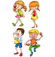 Children and food vector
