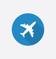 Airplane flat blue simple icon with long shadow vector