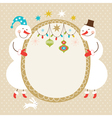 Cute snowmen and frame for text vector