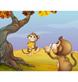 Two monkeys beside the big tree vector