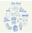 Fast food doodles squared paper vector
