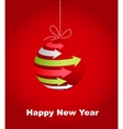 Typographic xmas balls on the red background vector