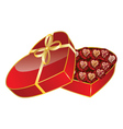 Opened red heart shaped gift box vector