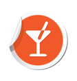 Cocktail simbol orange tag vector