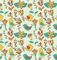 Flower and bird seamless texture vector