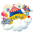 An elephant and a clown with a circus signage in vector