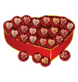 Opened red heart shaped gift box2 vector