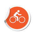 Cyclist simbol orange tag vector