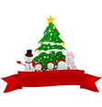 Santa claus reindeer and snowman with red ribbon vector
