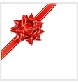 Bow of red ribbon located diagonally vector