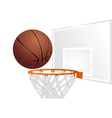 Basketball and basket vector