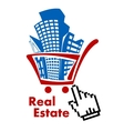 Real estate in shopping cart vector
