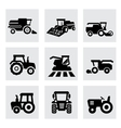 Black agricultural transport icons set vector