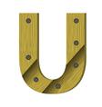Wood letter u vector
