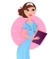 Smiling sexy brown hair nurse vector