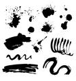 Set of black ink stains vector