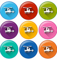 Rounded buttons with helicopters vector