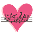 Musical heart vector