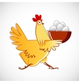 Chicken carries a bowl with the eggs vector