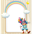 An empty surface with a clown holding balloons vector