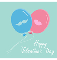 Balloons with mustache and lips valentines day vector