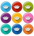Round buttons with lips vector