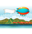 The empty banner carried by the colorful airship vector