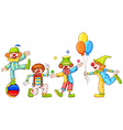 A simple drawing of four playful clowns vector