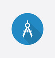 Compasses flat blue simple icon with long shadow vector