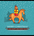 Christmas cute baby card with horse and gifts vector