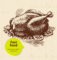 Vintage fast food background hand drawn menu desi vector