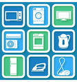 Set of 9 retro icons of electric appliances vector
