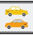 Graphic yellow taxi car flat design vector