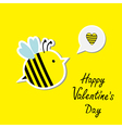 Cute cartoon bee and speech bubble with heart vector