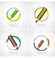 Pencil icon set company logo minimal design vector